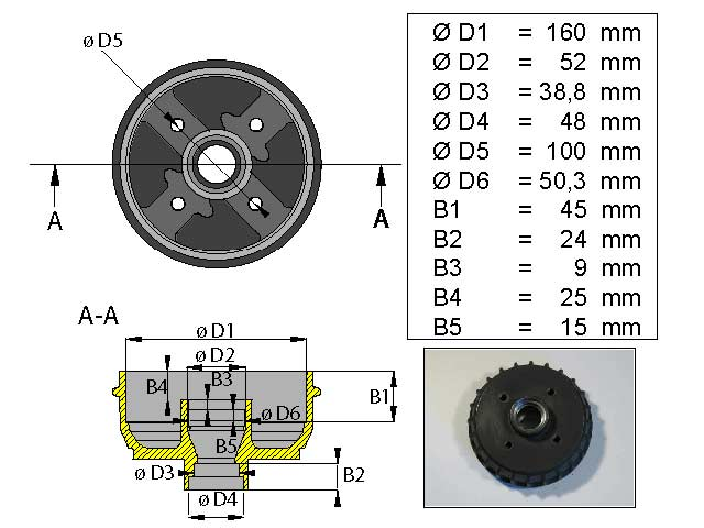 Jarrurumpu 160 mm 4*100 tuuma
