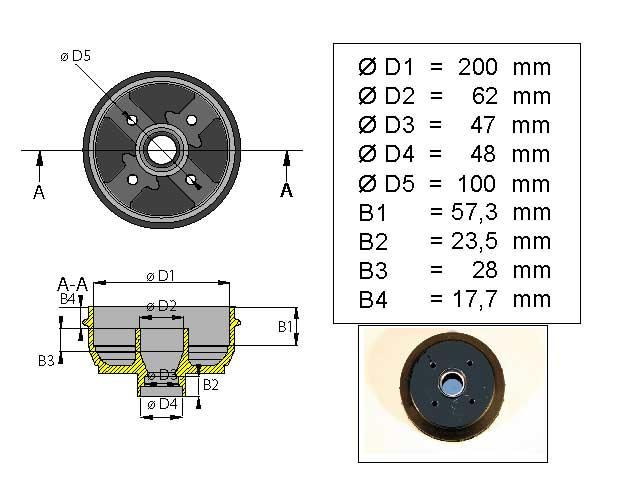 Jarrurumpu 200 mm 4*100 mm varasto