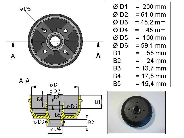 Jarrurumpu 200 mm 4*100 Tuuma
