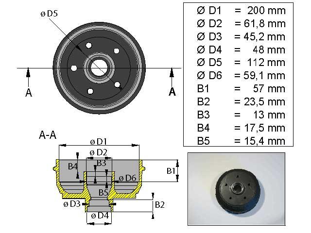 Jarrurumpu 200 mm 5*112 Tuuma