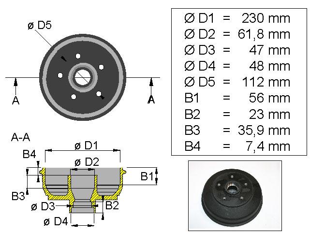 Jarrurumpu 230 mm 5*112 mm varasto