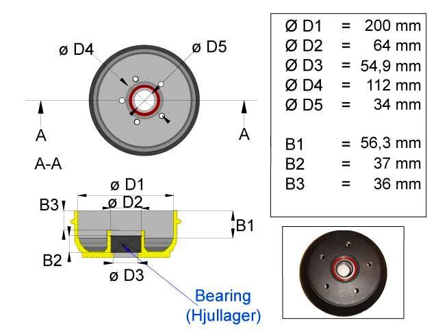 Jarrurumpu 200 mm 5*112 kompakti laakeri