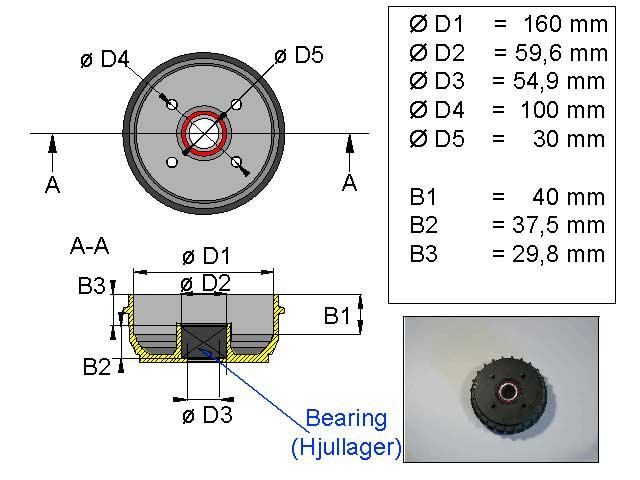 Jarrurumpu 160 mm Euro 4*100 kompakti laakeri