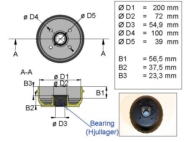 Jarrurumpu 200 mm Euro 4*100 kompakti laakeri