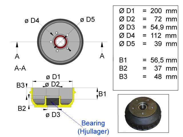 Jarrurumpu 200 mm Euro 5*112 kompakti laakeri
