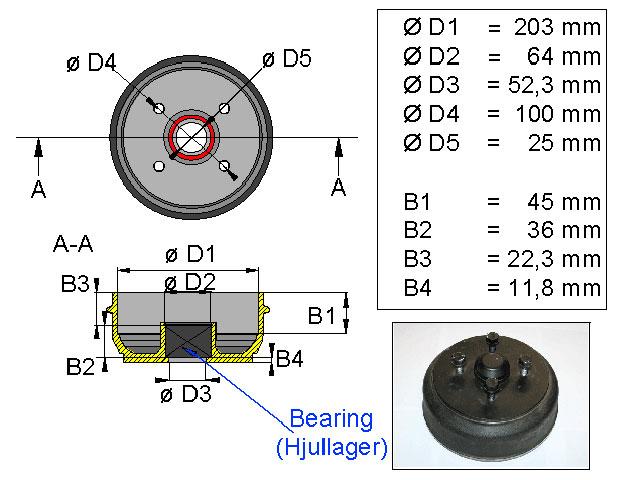 Jarrurumpu 203*40 4*100 kompakti laakeri
