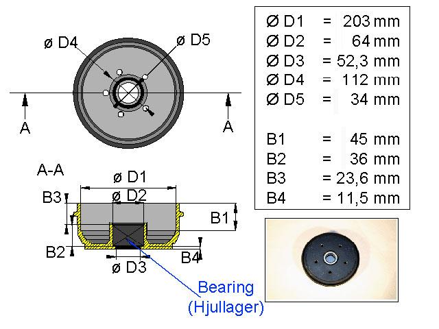 Jarrurumpu 203*40 5*112 kompakti laakeri