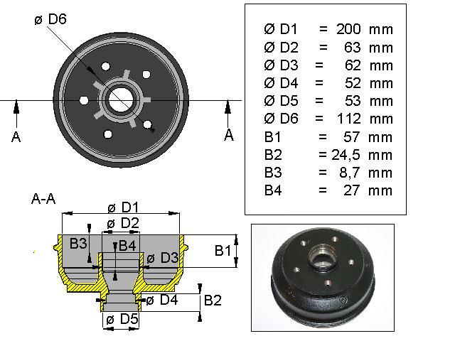 Jarrurumpu 200*50 Peits/Bpw 5*112 D (1500kg)
