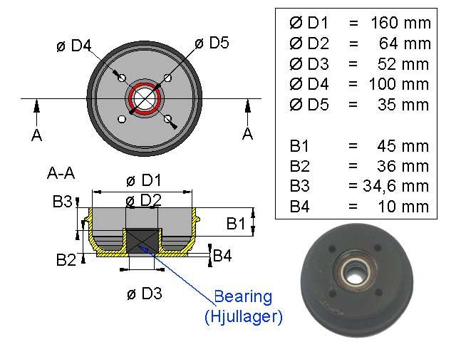 Jarrurumpu 160*35 4*100 kompakti laakeri