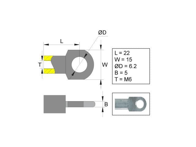 Kiinnityssilmukka varten kaasujousi  L=22 M6