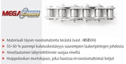 """16B-1 1"""" HITACHI RULLAKETJU RST 16B BS 304SS"""