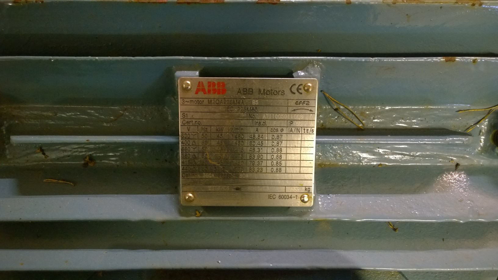 45KW/1500 B5 Sähkömoottori ABB M2QA225M4QA